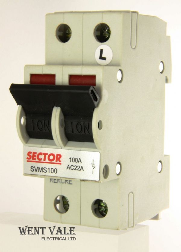 Sector SVMS100 - 100a AC22A Double Pole Switch Disconnecter Un-used